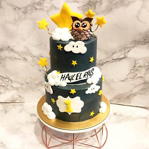 Owl Star Night Two Tier Cake