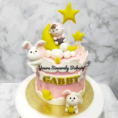 Baby Girl With Bunnies Dreamy Pink Cake