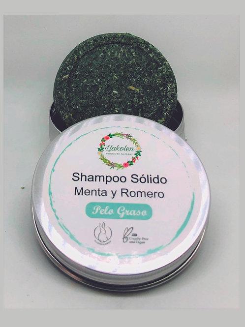 Shampoo Solido Pelo Graso Romero  & Menta