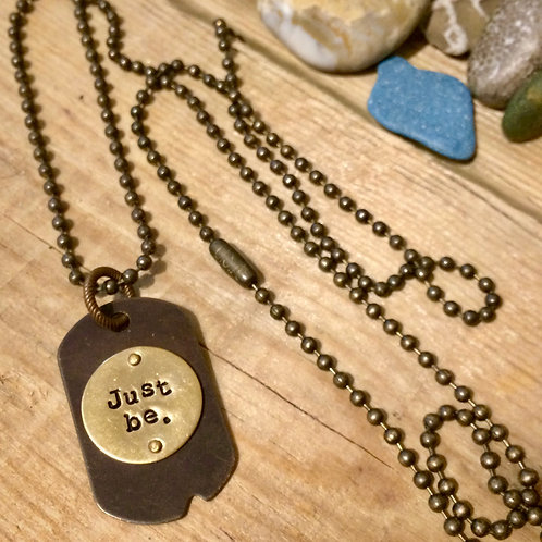 Just Be Mixed Metal Micro Dog Tag Necklace