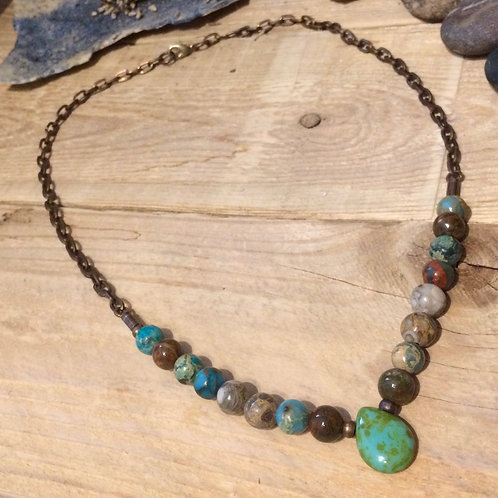 Quiet Change: African Green Opal Necklace