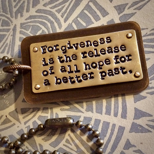 Forgiveness Mixed Metal Pendant and Ball Chain Necklace