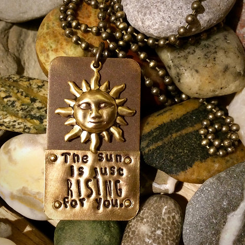 The Sun Is Just Rising Mixed Metal Pendant