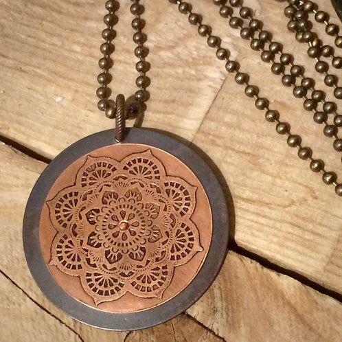 Mixed Metal Etched Mandala Necklace