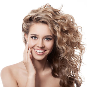 Blond long hair wave style