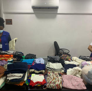 Preparing the items for the clothing drive.