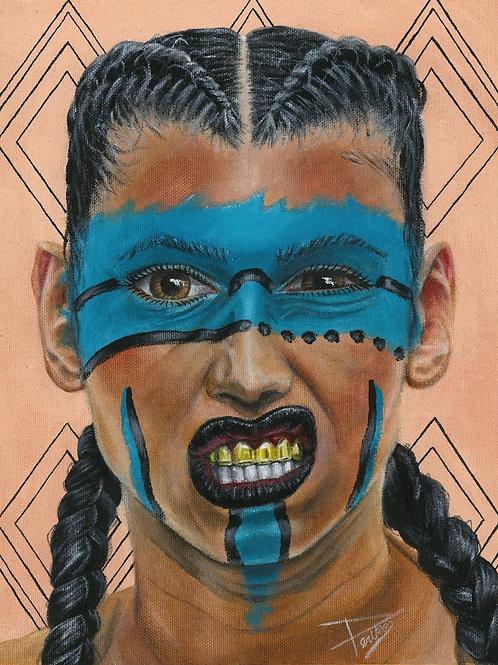 Aztec Warrior, 11''x 17'' signed print