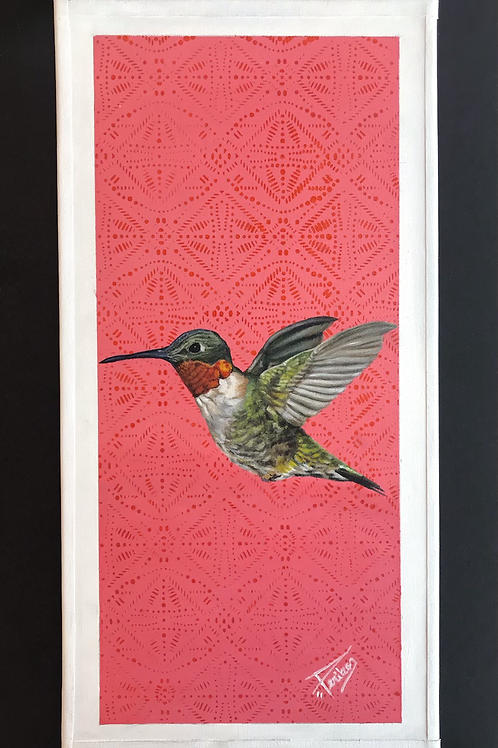 "(New) ORIGINAL ""Hummingbird "", 8 1/8""x 16 1/4"""