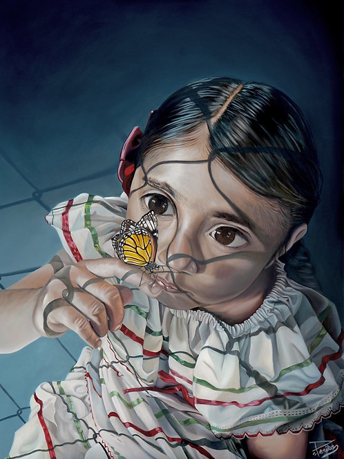 "ORIGINAL, ""Girl with Butterfly "", 36""X48"""