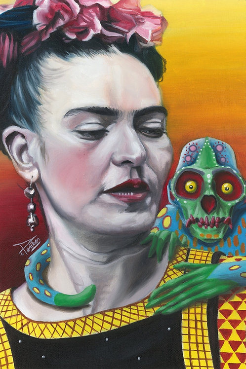 "[ORIGINAL] Frida with alebrije, 11""x17"" on flat canvas"