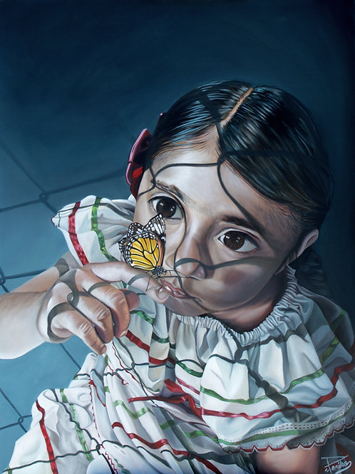 "girl with butterfly, 11""x17"" signed print"