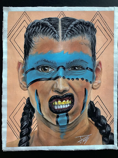 "(New) ORIGINAL ""Aztec Warrior"" , 9.5""x11.75"""