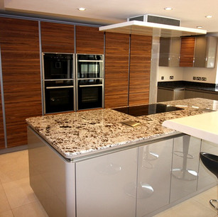 Modern kitchen with dark wood