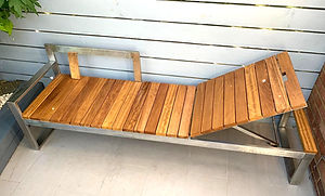 Colella Interiors bespoke outdoor wooden lounger