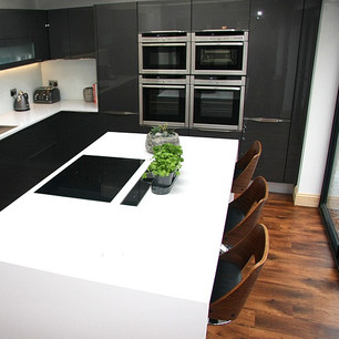 Modern gloss white minimalist kitchen island