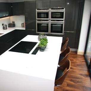Modern gloss white minimalist kitchen island