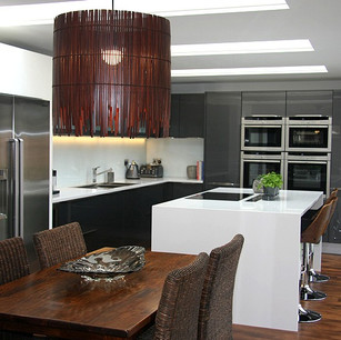 Modern highgloss kitchen and dark wood
