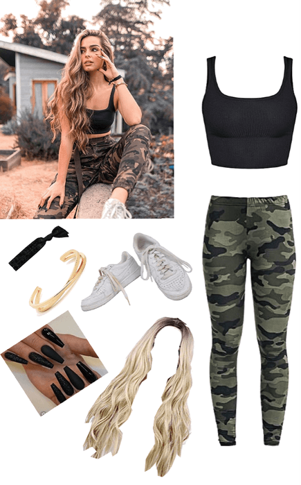 Addison Raye camo pants and cropped top outfit tiktok