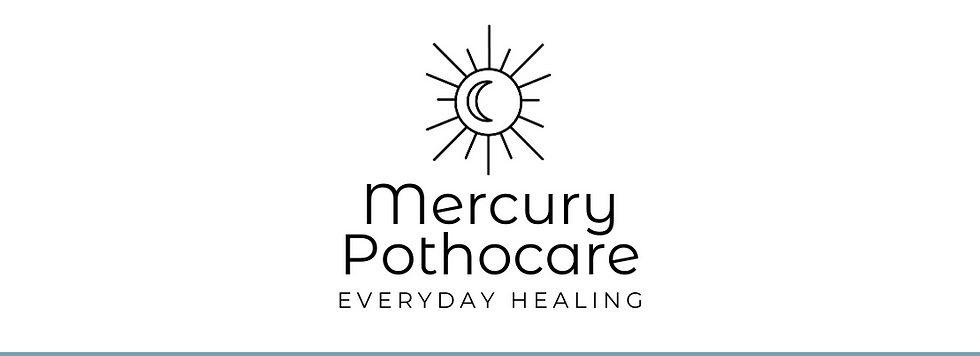 """A logo of a crescent moon inside the shining sun with the text """"Mercury Pothocare Everyday Healing"""""""