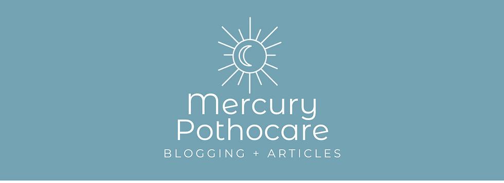 A white Mercury Pothocare logo set on a light blue background