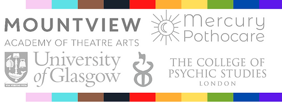 Logos of several places of study, bordered by the rainbow flag