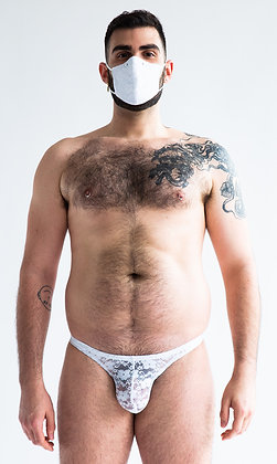 White Lace Mask & Thong Combo Pack