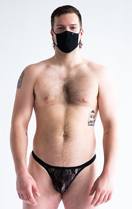 Black Lace Mask & Thong Combo Pack