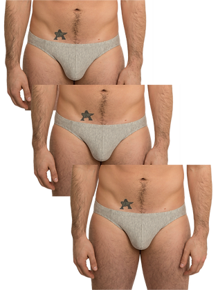 Basic Low-Rise Grey Brief 3-Pack