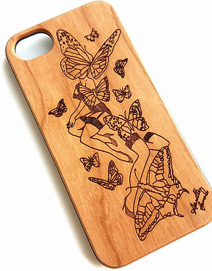 Butterfly Phone Case Cherry Wood. Suitable for Apple IPhone 6, 6s, 7 & 8 Models