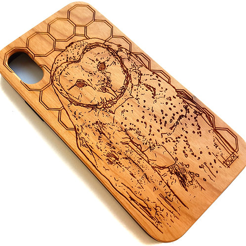 Owl Phone Case in Cherry Wood. Suitable for Apple IPhone X & XS Models