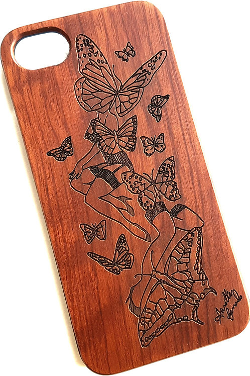 Butterfly Phone Case, Rose Wood. Suitable for Apple IPhone 6, 6s, 7 & 8 Models