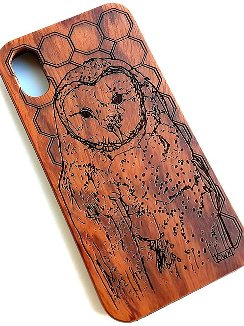 Owl Phone Case in Rose Wood. Suitable for Apple IPhone X & XS Models