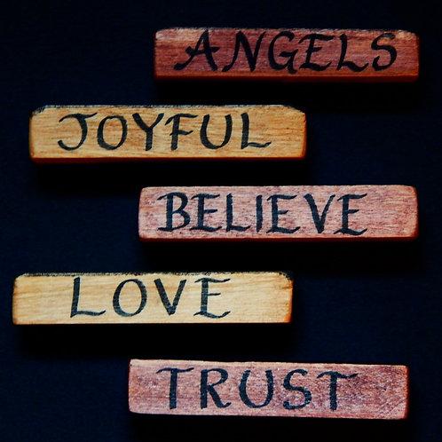 Inspiring wooden word blocks
