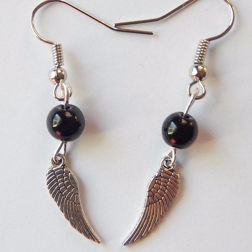 Wings with black bead earrings