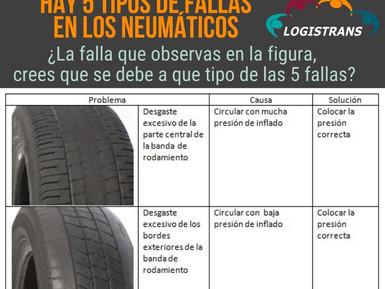 EN LA GESTIÓN DE LOS NEUMÁTICOS, HAY 5 TIPOS DE FALLAS: