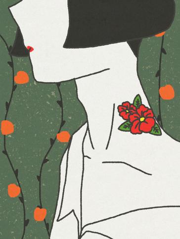赤い花のタトゥー