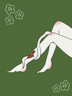 蛇と赤い花のタトゥー