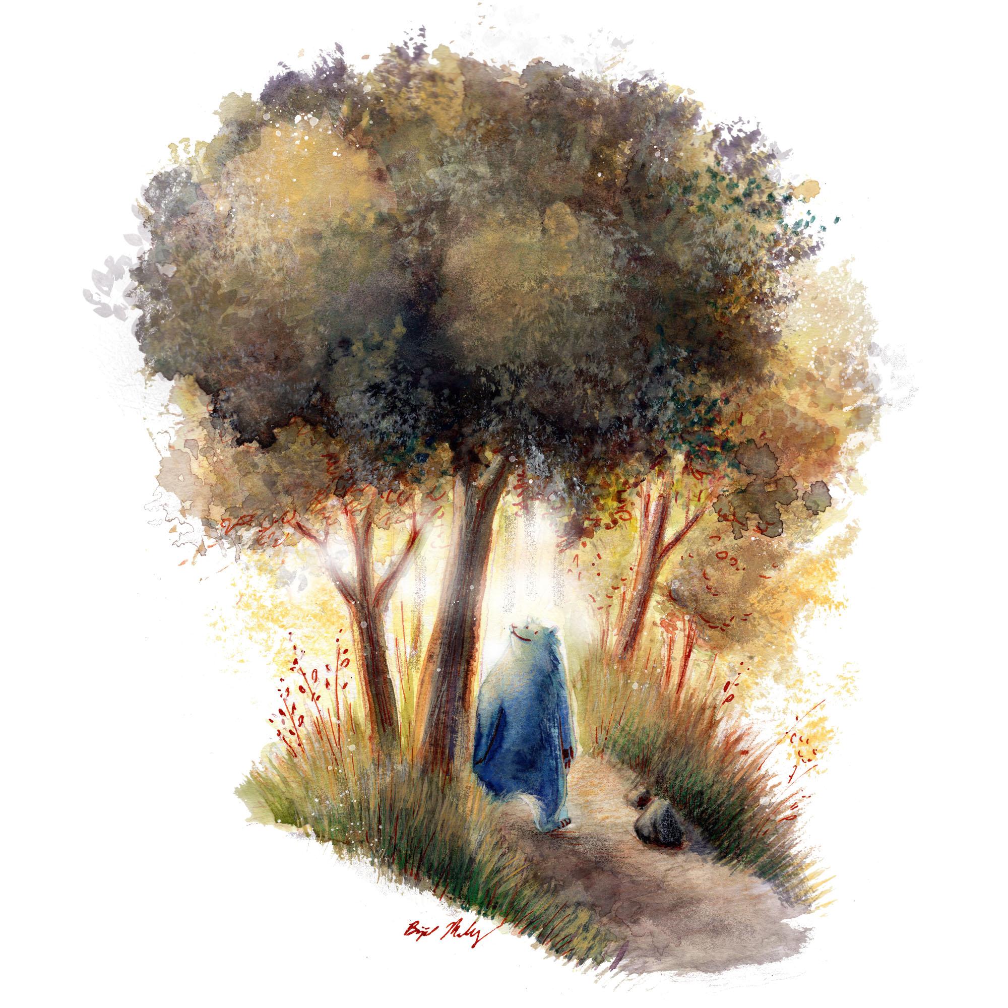 Blue Bear Walking Through Woods