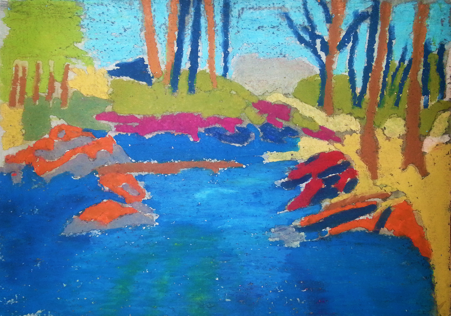oil pastels river banks