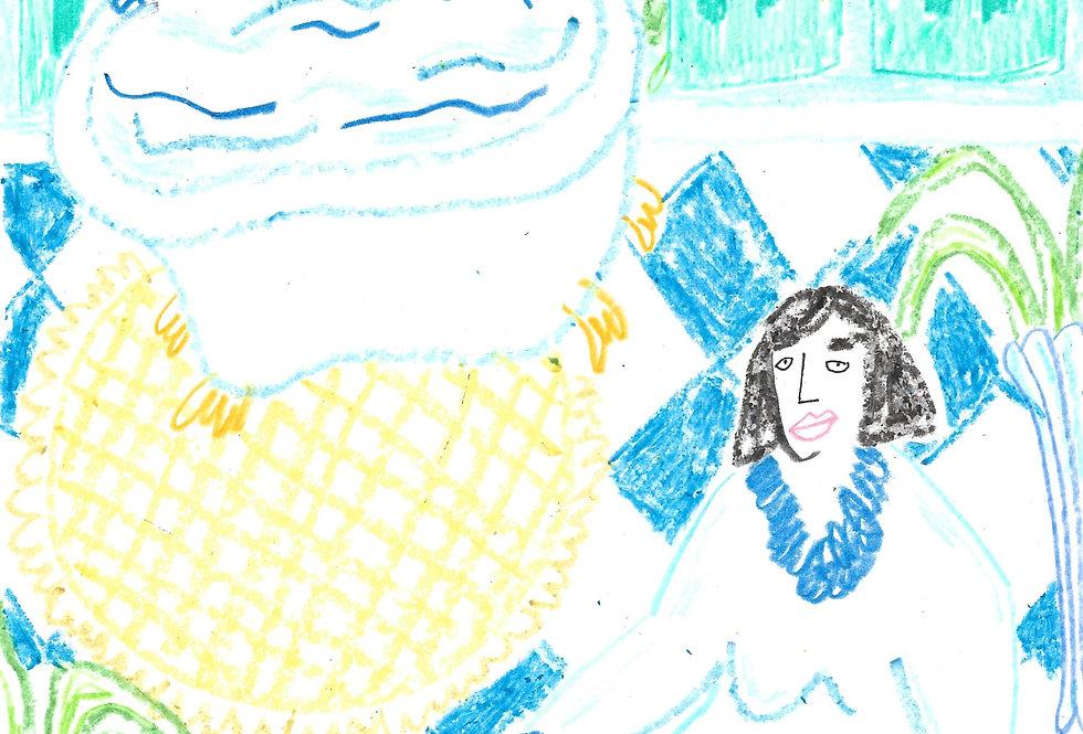 Dream Blue Bathroom Lady Original Drawing