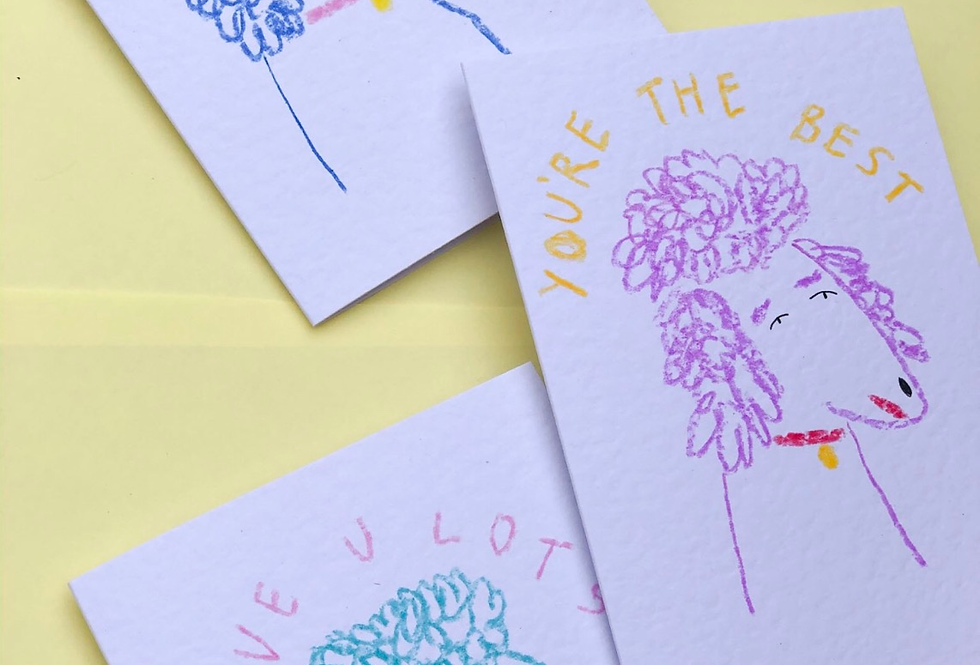 Set of 3 Hand-drawn Poodle Cards