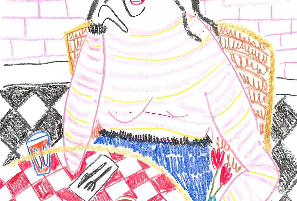 Red Gingham Cafe Lady Original Drawing