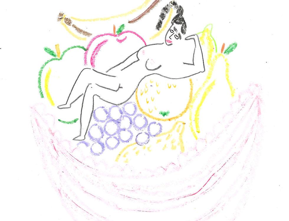 Pink Fruit Bowl Original Drawing