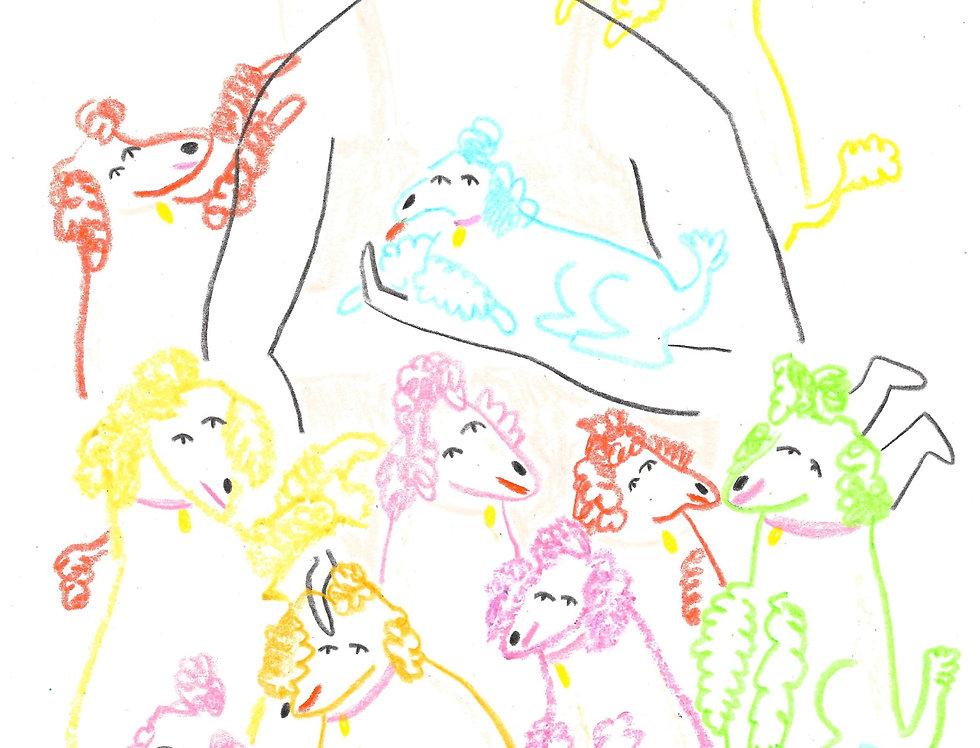 Poodle Lover Original Drawing