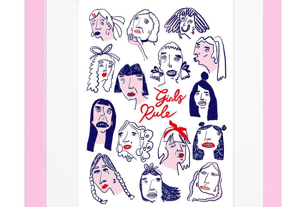 Girls Rule A4 Print