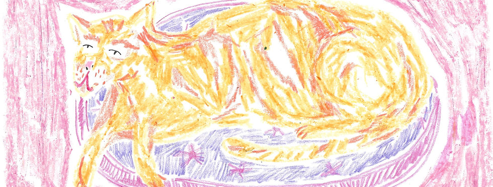 Ginger Cat on Pink Pouffe Original Drawing
