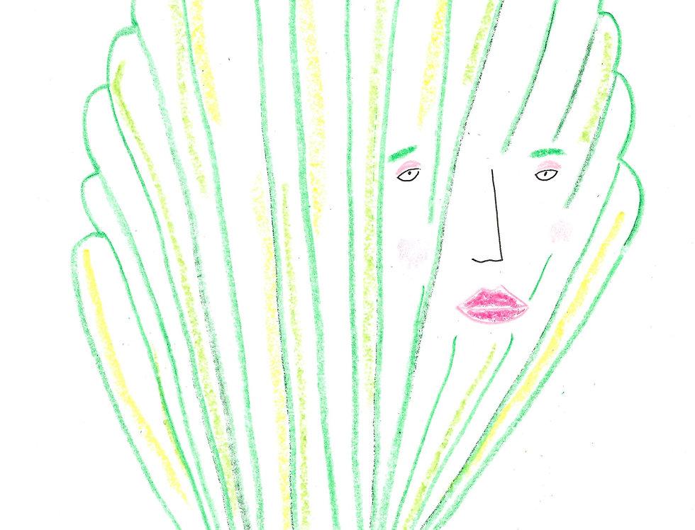 Moody Green Shell Original Drawing