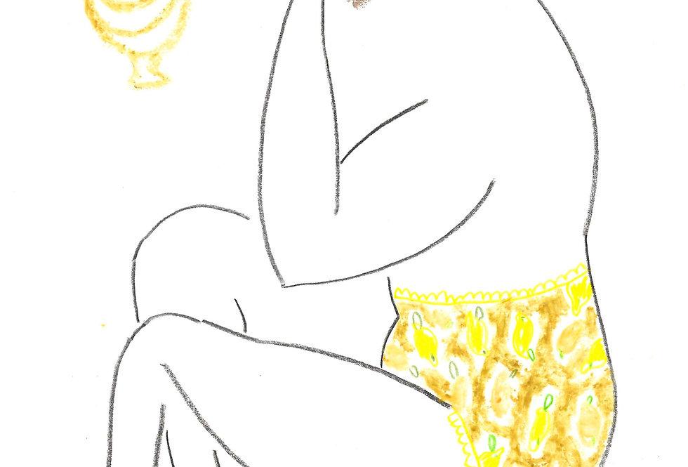 Lemon Pants Lady Original Drawing