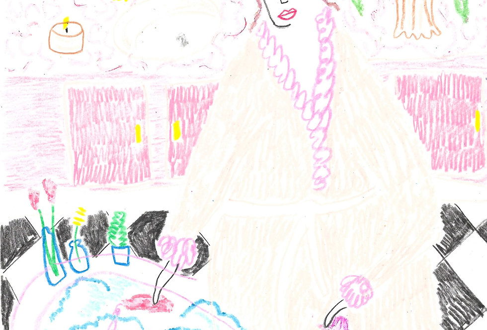 Dream Pink Bathroom Lady Original Drawing