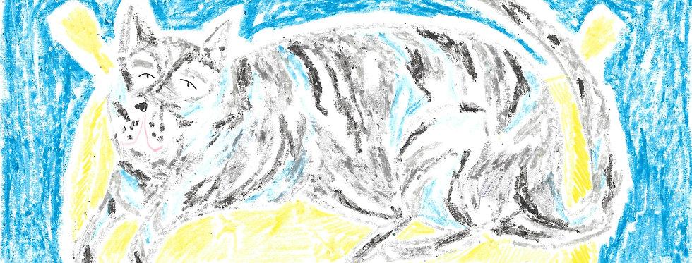 Grey Cat on Yellow Pouffe Original Drawing